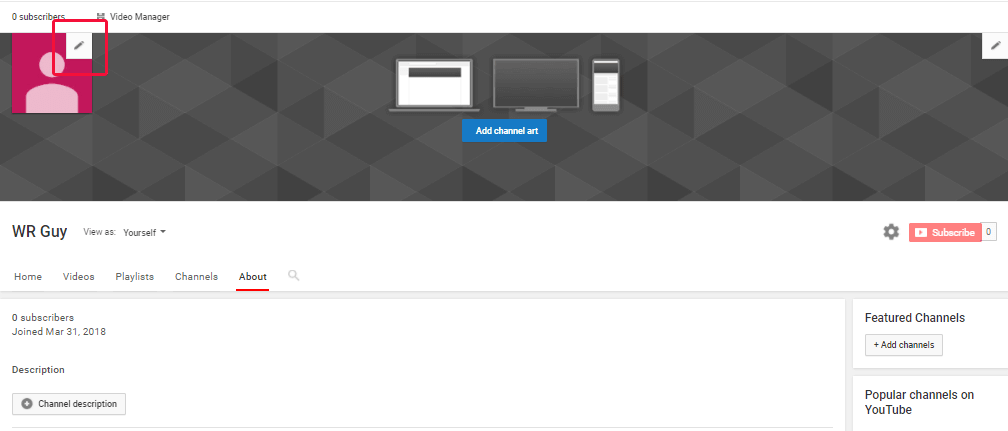 Youtube update channel icon