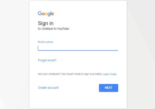 Youtube sign in box