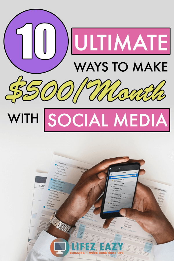 Pinterest pin showing how to make money with social media