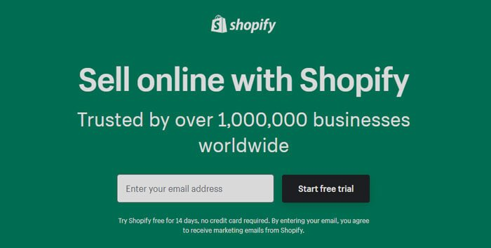 Shopify Sign Up Page