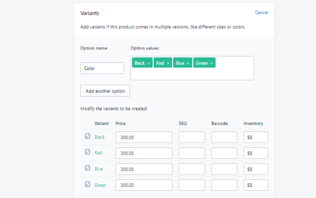 Shopify product variant box