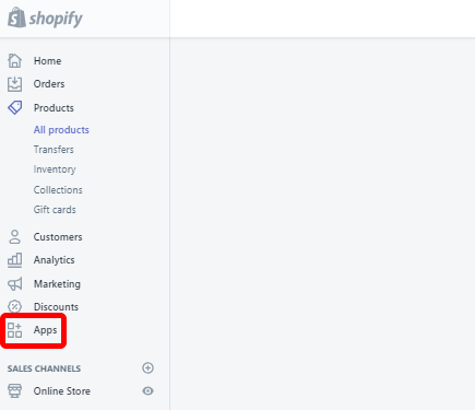 Shopify Apps option
