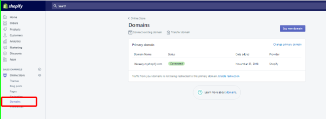 Shopify Domain option