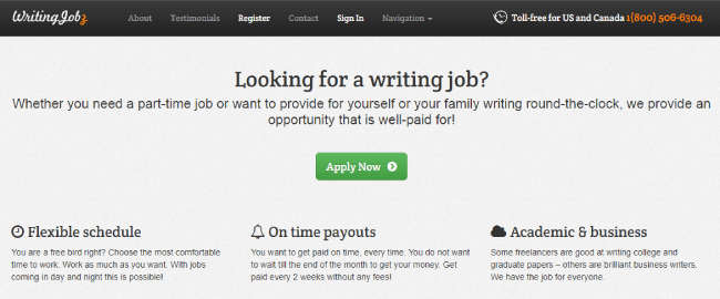 Writing Jobz website