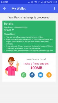 Screenshot of successful Paytm recharge