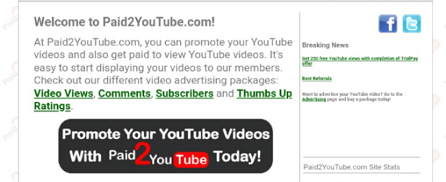 Paid2Youtube website