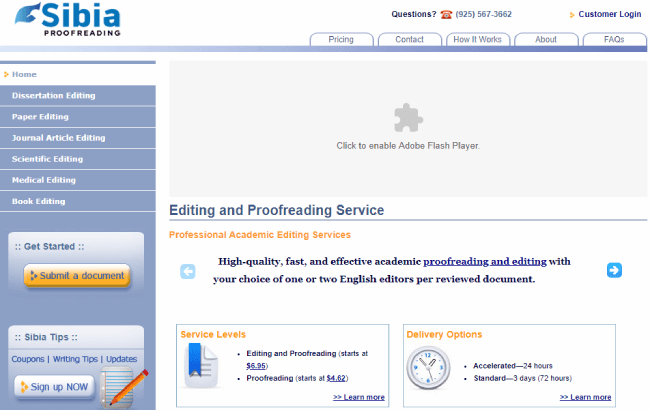 Sibia Proofreading website