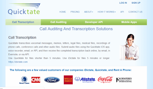 Quicktate website