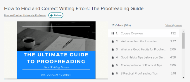 Skillshare Proofreading Course