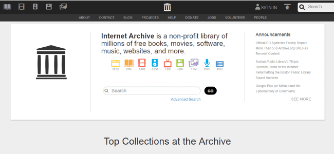 Internet Archieve website