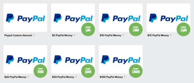 PayPal Cards in PrizeRebel