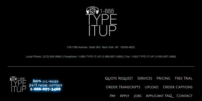 1-888-Type-it-up Transcription company