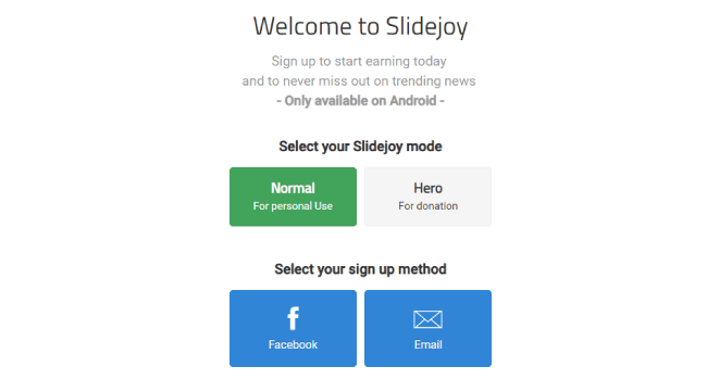 Slidejoy Signup Page