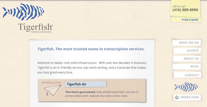 TigerFish Transcription company