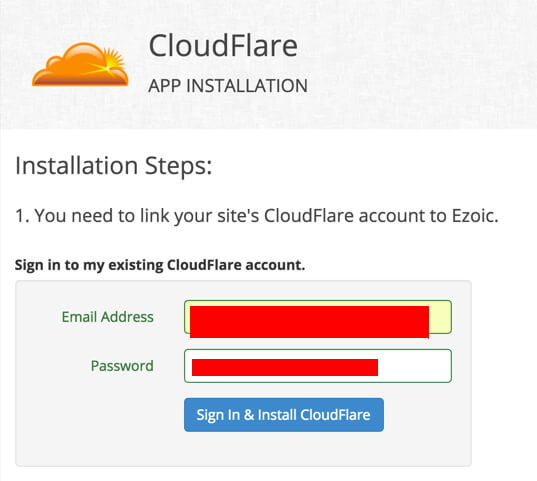 Cloudflare login tab