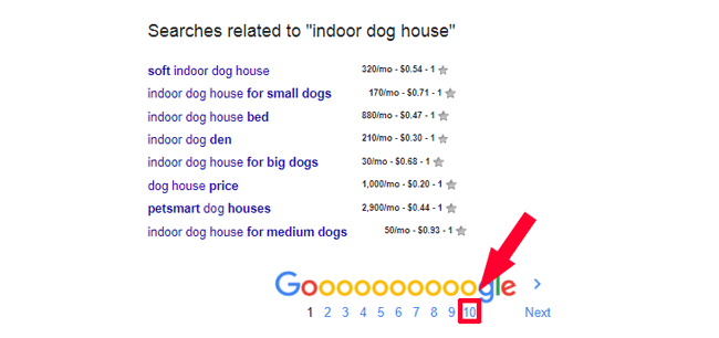 """Exploring search result for """"indoor dog house"""" keyword till page 10"""