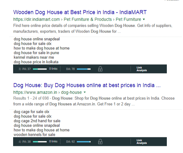 Moz bar under Search results