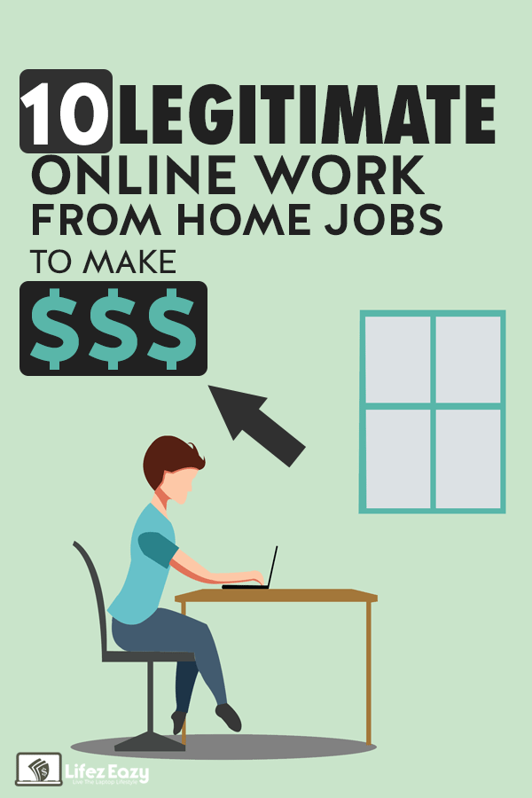Legitimate online work from home jobs Pinterest pin
