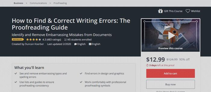 How to find & correct Writing Errors course