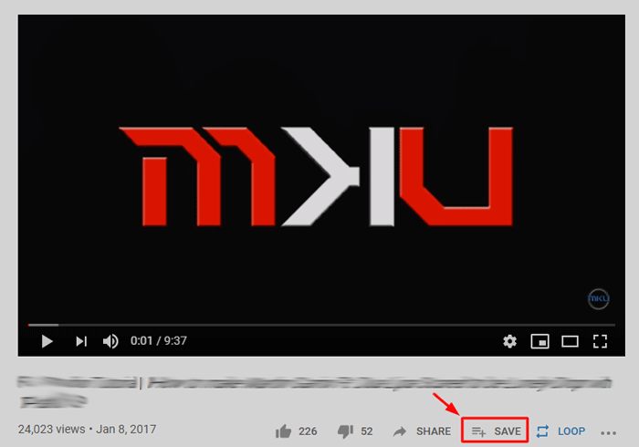 Save option in a YouTube video