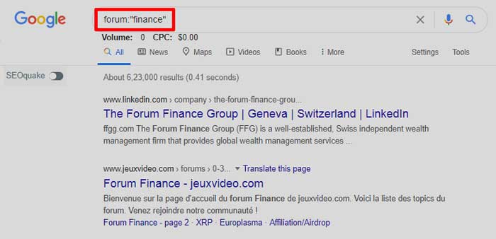 Searching forum on Google from a niche