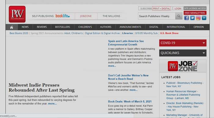 Publishers Weekly website