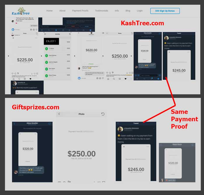 KashTree payment proof used in Giftsprize website