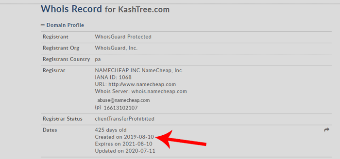 Screenshot of KashTree domain name creation date on Whois Lookup