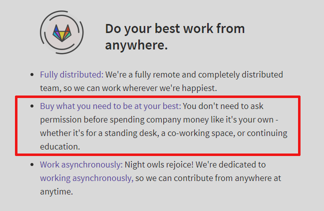 Work from home equipment provided by Gitlab