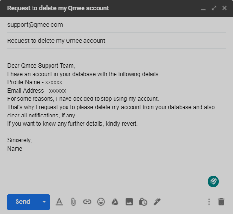 Sample Email for deletion of Qmee account