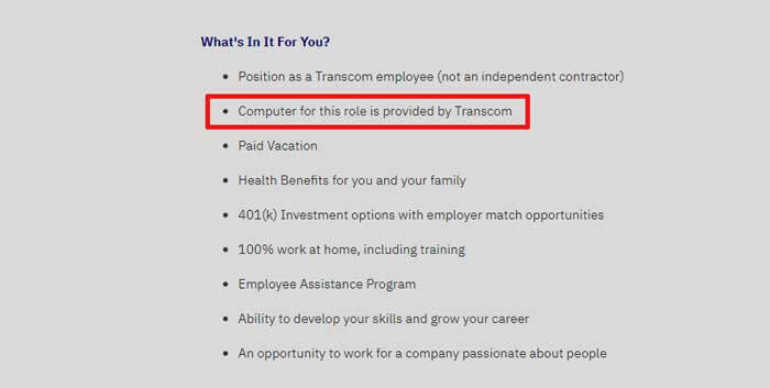 Work from home equipment provided by Transcom