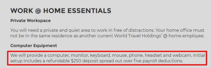 Work from home equipment provided by World Travel Holdings