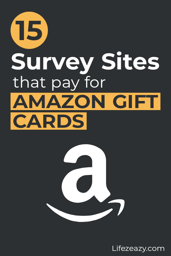 Pinterest pin for Survey sites that pay for Amazon gift cards post